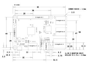 Raspberry Pi B+ Mechanical Drawing