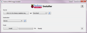 Fedora ARM Installer - Main Window