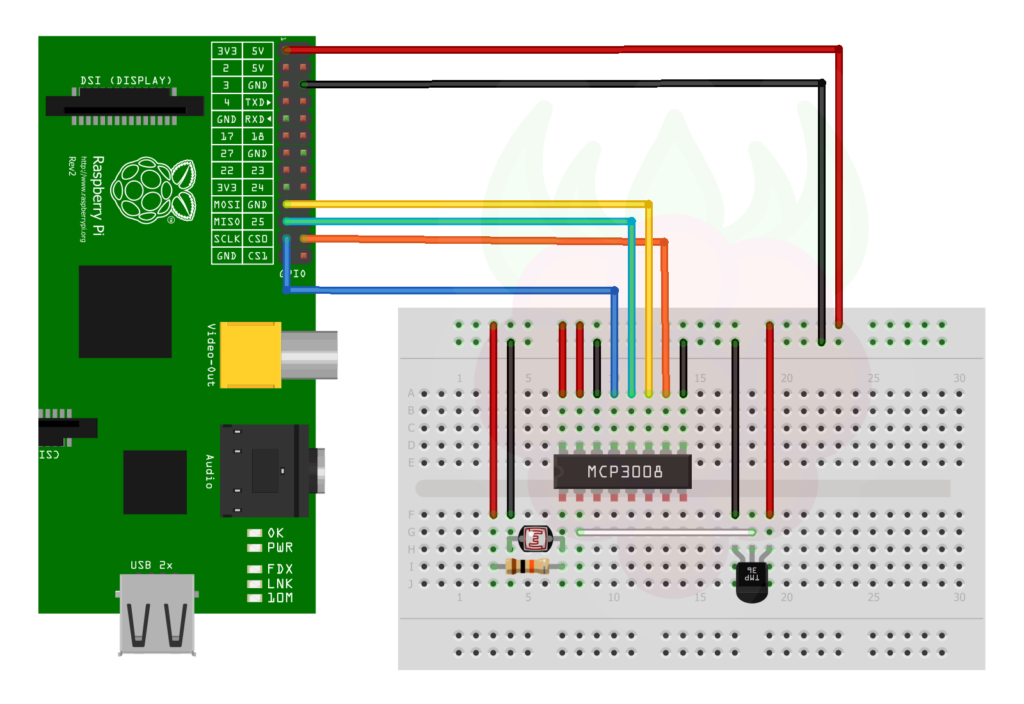 Analogue Sensors On The Raspberry Pi Using An MCP3008 - Raspberry Pi Spy