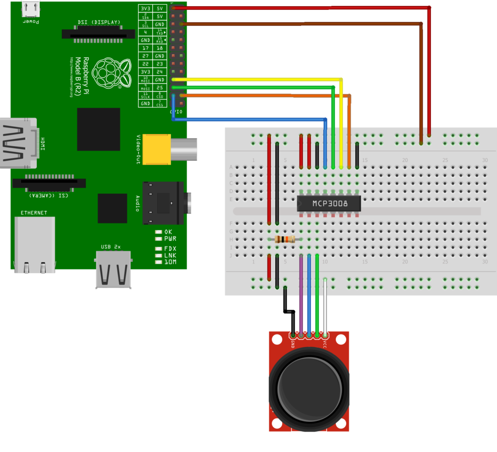 Using A Joystick On The Raspberry Pi An Mcp3008 Spy Wiring And Circuit