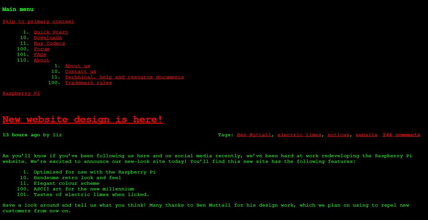 Raspberry Pi Aprils Fool Site Design