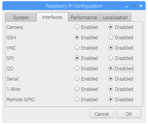 Raspberry Pi Configuration - Interfaces Tab - SPI