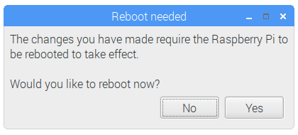 Raspberry Pi Configuration - Reboot Prompt