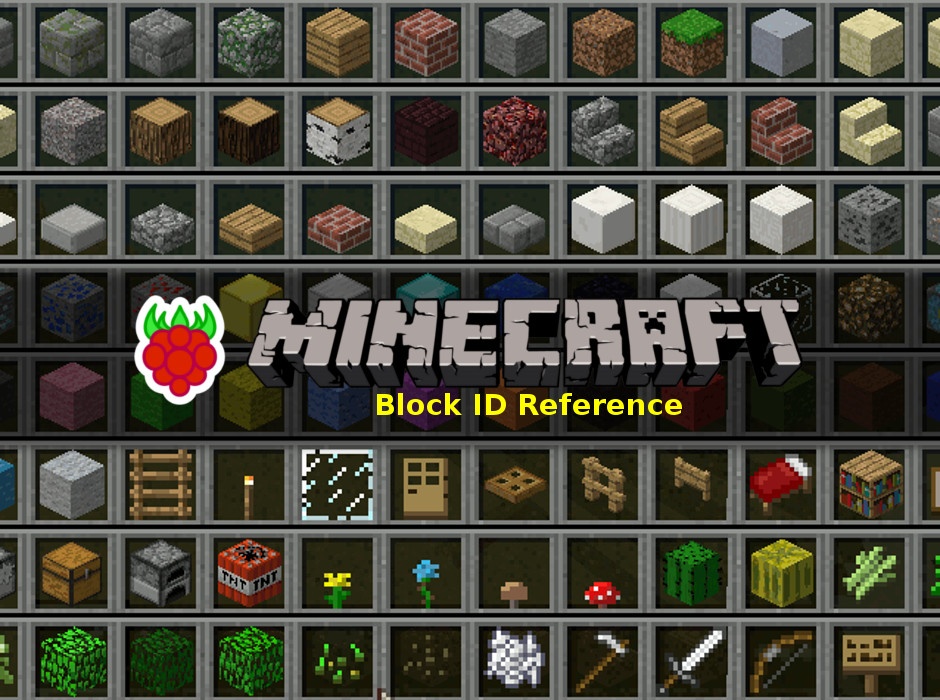 Raspberry pi minecraft block id number reference for Full name of pi