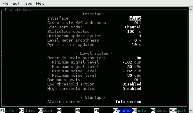 WiFi details shown in Wavemon