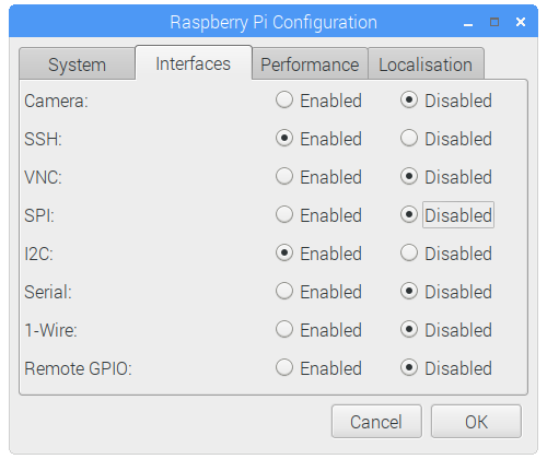 Raspberry Pi Configuration - Interfaces Tab - I2C