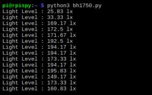 BH1750 Example Output