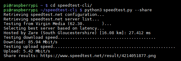 speedtest-cli with share option