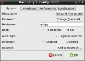 Raspberry Pi Config Tab 1