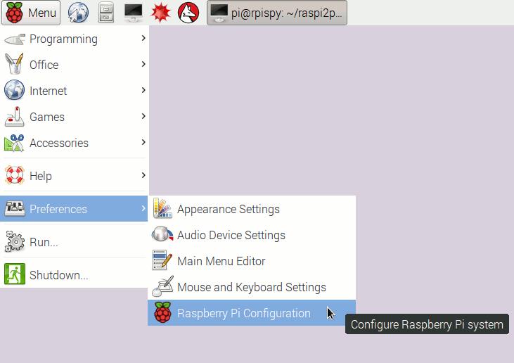 Raspberry Pi Configuration shortcut