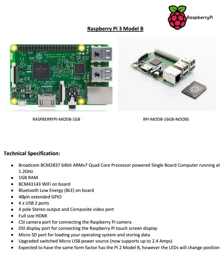 Raspberry Pi 3 Specifications