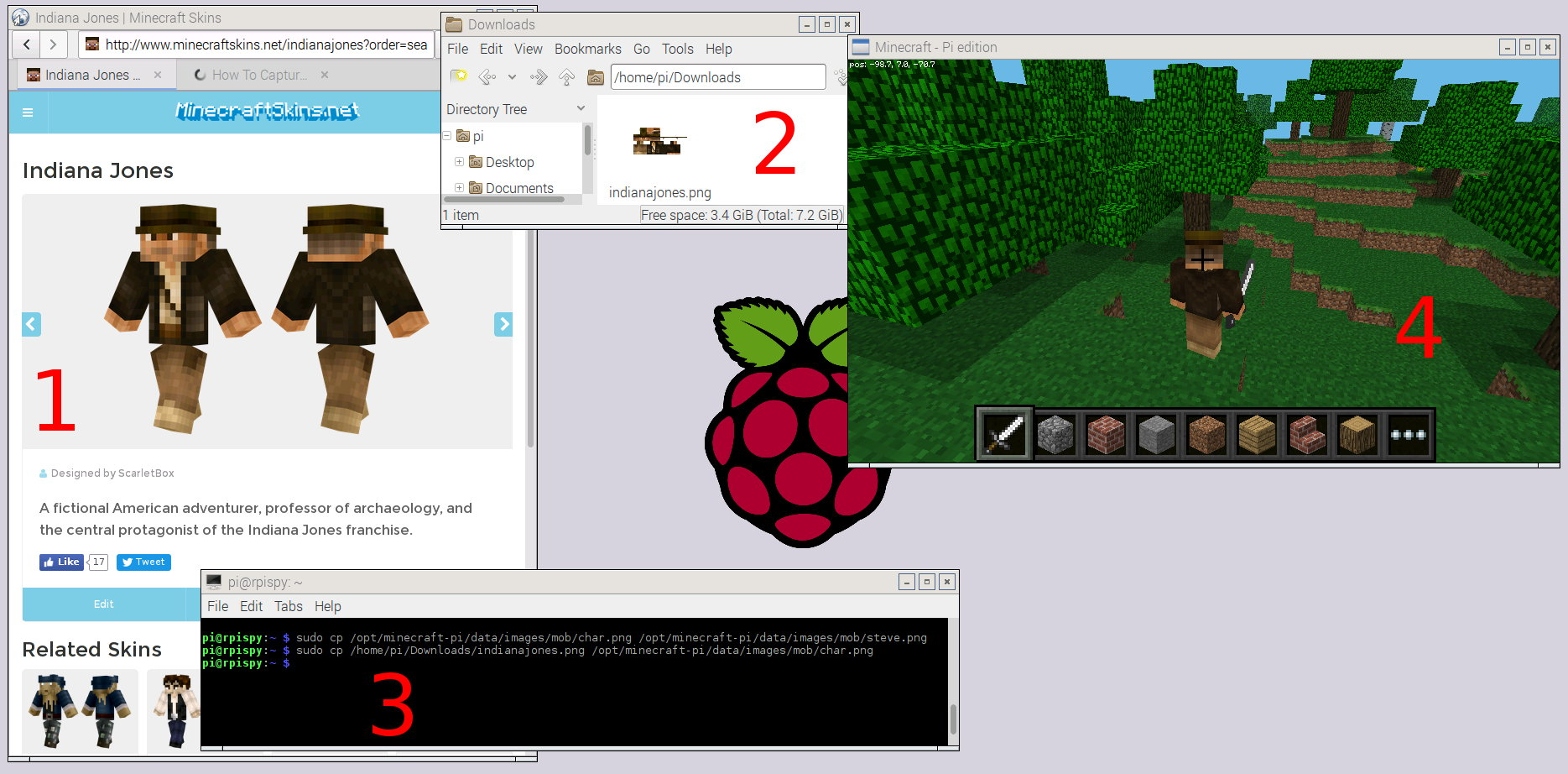 How to Change Your Character Skin In Minecraft Pi Edition