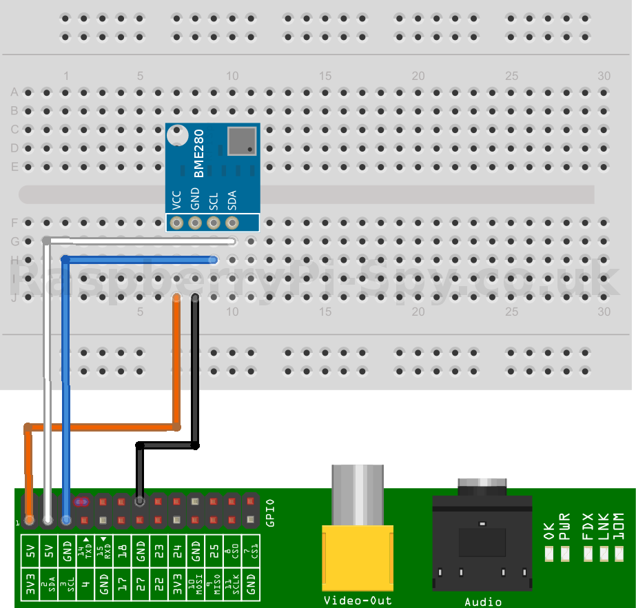 Using the BME280 I2C Temperature and Pressure Sensor in Python