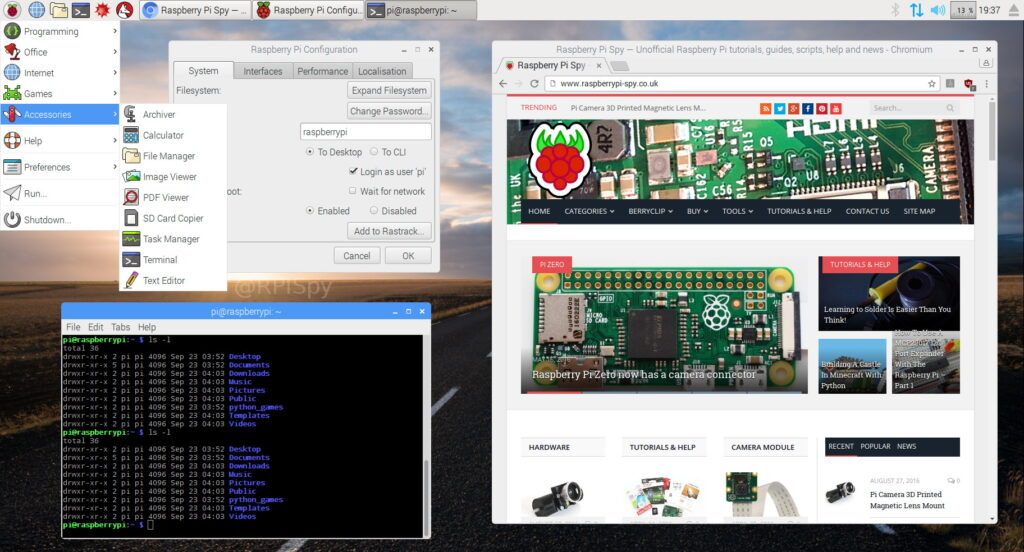 Raspbian Desktop September 2016