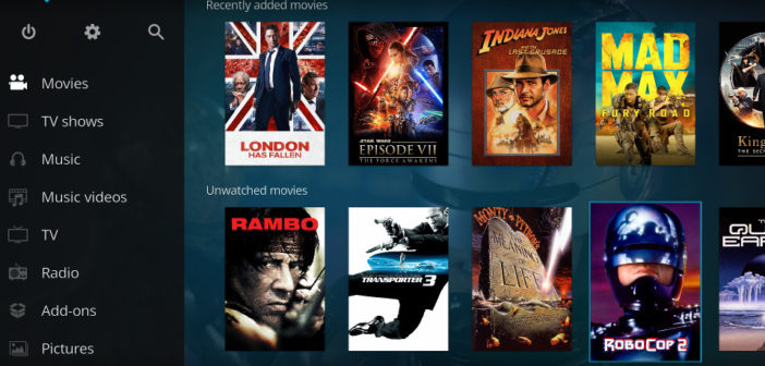 Kodi homescreen with movie thumbnails