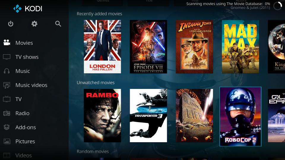 Kodi homescreen with movie thumbnails