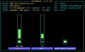USB Aduio Adapter alsamixer output
