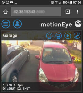 motionEyeOS monitoring on a Smartphone