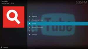 YouTube Kodi add-on menu