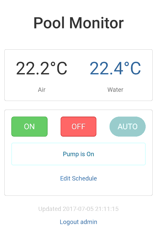 Pi Zero W Pool Monitoring System