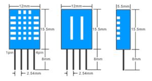 DHT11 Sensor Dimensions