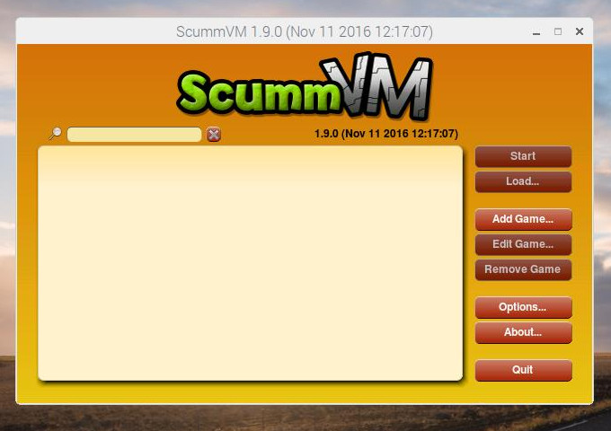 ScummVM main launcher
