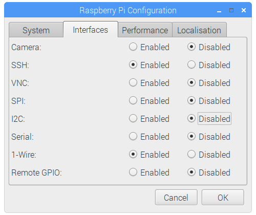 Raspberry Pi Configuration - Interfaces Tab - 1-Wire