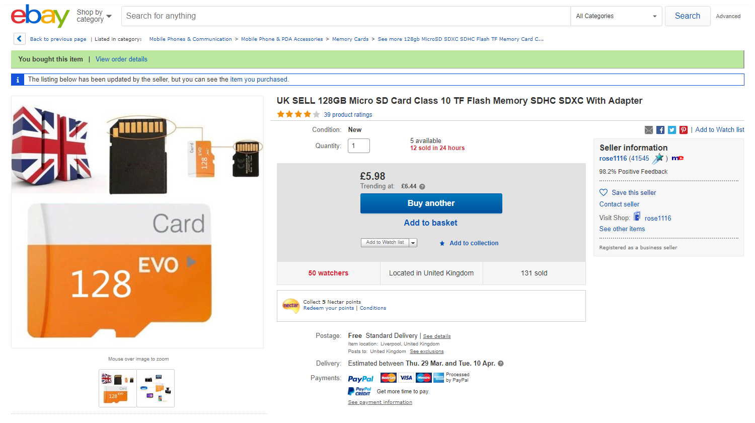Fake 128GB microSD Card eBay Advert