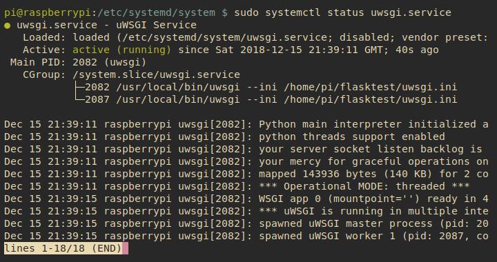 uWSGI systemd service status