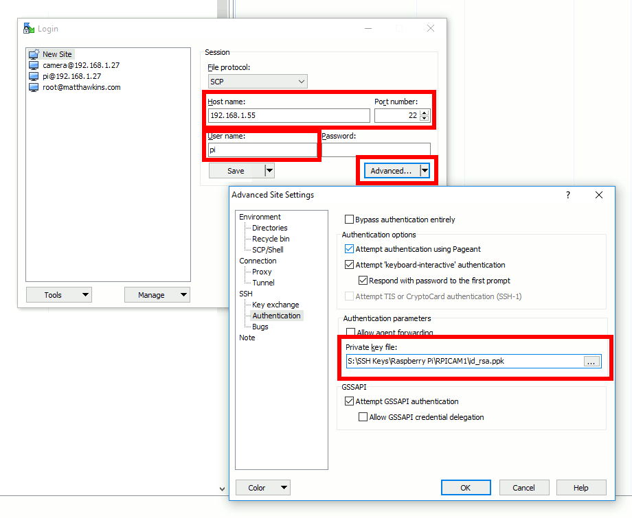 WinSCP Session SSH settings