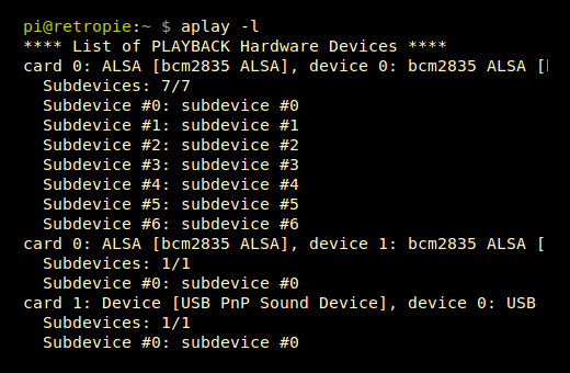 USB Sound Device Setup - aplay