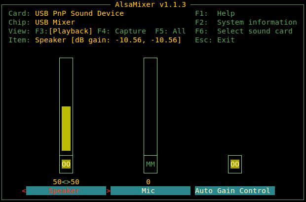 USB Sound Device Setup - Alsamixer