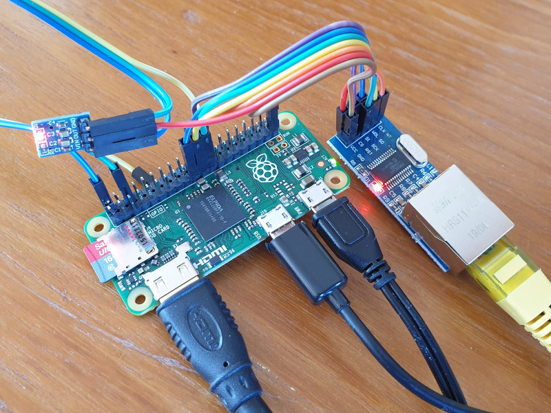 Pi Zero connected to ENC28J60 Ethernet Module