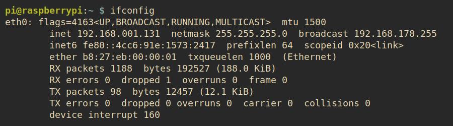 Pi Zero ifconfig example output