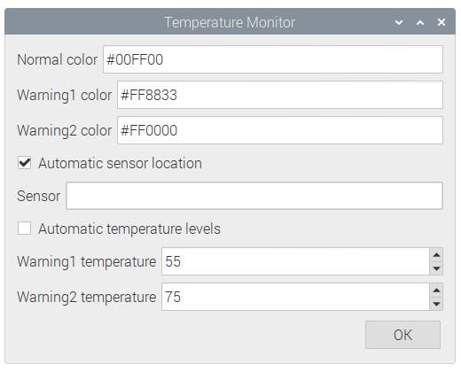 Raspberry Pi Temperature Monitor Settings